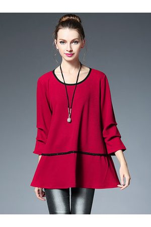 Newchic Red Ruffle Pleated Long Sleeve Loose Shirt