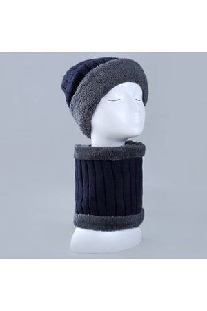 Newchic Men Warm Knitted Beanies Hats Scarf Collar Set