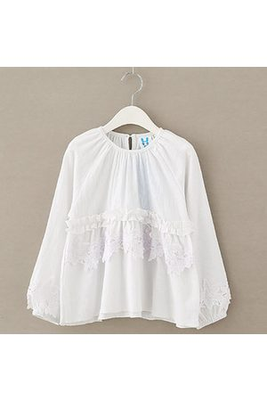 Newchic White Cotton Girls Tops Blouses