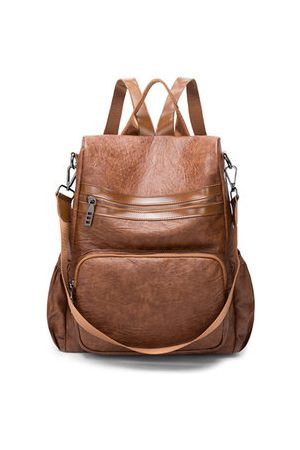 Newchic Women Men Vintage PU Leather Backpack