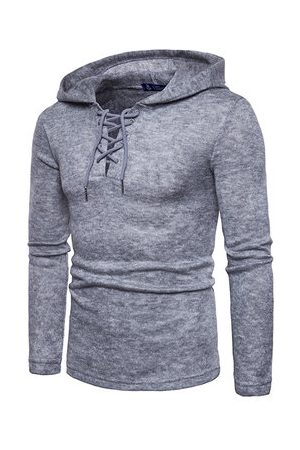 Newchic Mens Knitting Hooded Casual T-shirts