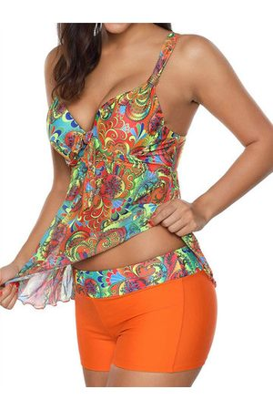 Newchic Deep Plunge Printing Cover Belly Tankinis