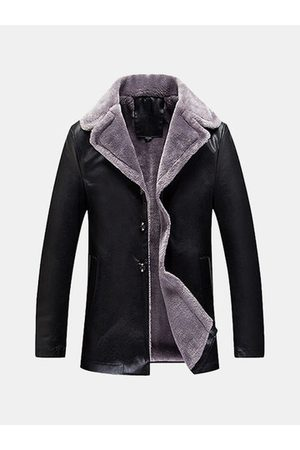 Newchic Men Leather Jackets - Notch Collar Fleece Leather Jacket