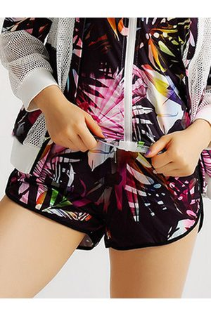 Newchic Multicolor Printed Sports Yoga Fitness Shorts For Women
