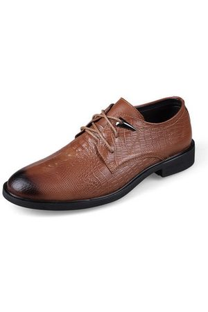 Newchic LANMARH Men Cow Leather Crocodile Pattern Business Shoes