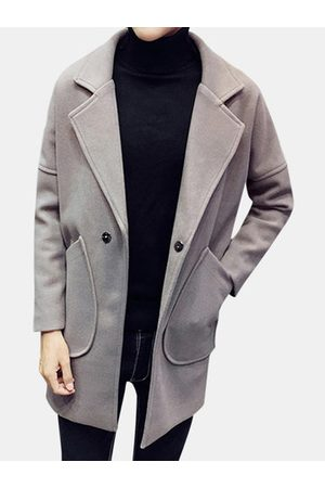 Newchic Mens Solid Casual Wool Coat