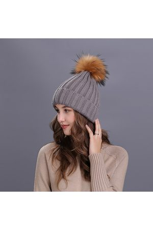 Newchic Knitted Wool Solid Beanie Pompom Ball Hats