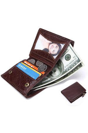Newchic Genuine Leather Vintage Removable Coin Bag Wallet For Men