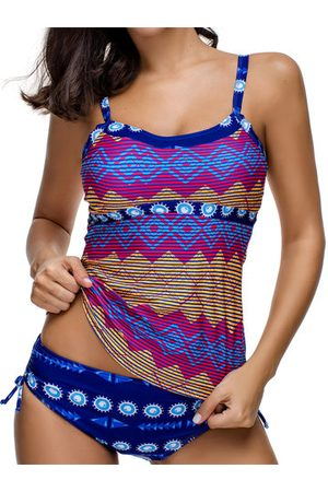 Newchic Cover Belly Geometric Printing Tankinis