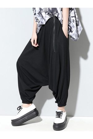 Newchic Fashion Black Elastic Waist Zipper Harem Pants