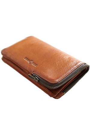 Newchic Vintage Genuine Leather Casual Trifold Long Wallet For Men