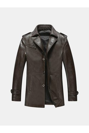 Newchic Mid Long Epaulets Leather Jacket