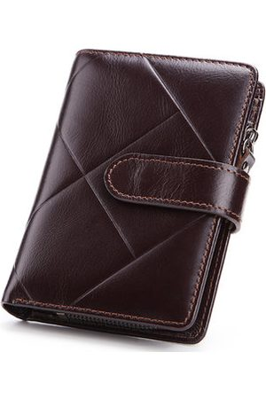 Newchic Men Genuine Leather Business Short Coin Bag Trifold Wallet