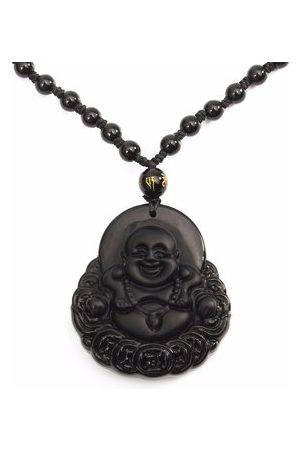 Newchic Simple Unisex Necklace Natural Obsidian Hand Carved Coin Smile Buddha Necklace