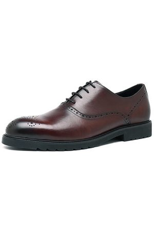 Newchic Men Cow Leather Pointed Toe Derbies Business Shoes