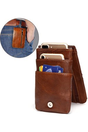 Newchic Ekphero Genuine Leather Wallet Multi Pocket Waist Bag Phone