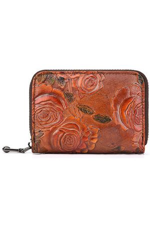 Newchic Women Wallets - Brenice Vintage Casual Floral Genuine Leather Card Holder Co