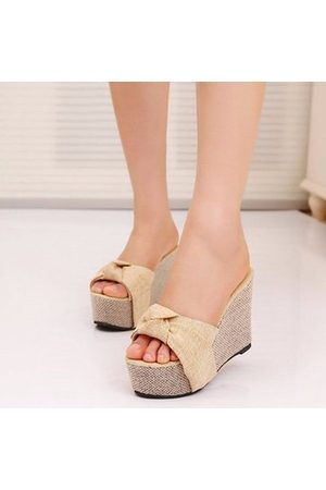 Newchic Candy Color Knot Slip On Platform Sandals Slippers