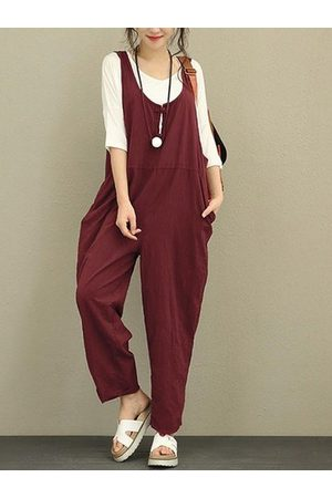 Newchic Pure Color Frog Button Women Jumpsuits