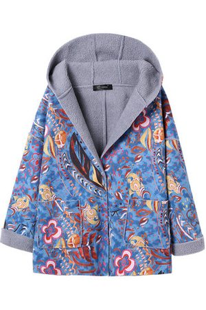 Newchic Vintage Fleece Printed Pocket Hooded Coat for Women
