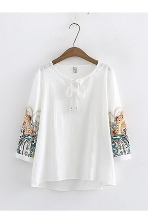 Newchic Printed Bow Loose Cotton Blouse
