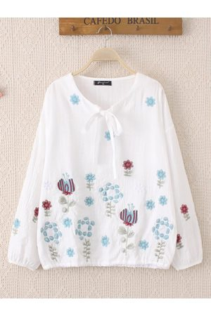 Newchic Casual Flower Embroidery Bow Long SleveCotton Blouse