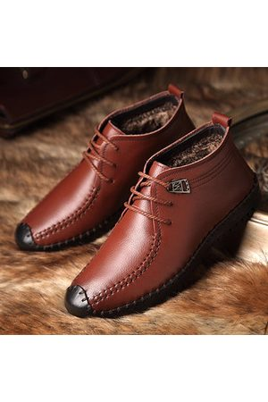 Newchic Men Casual Shoes - Men Casual Hand Stitching Cow Leather Winter Shoes