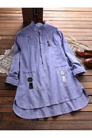 Newchic Casual Embroidery Cat Ruffle Pokcet Long Sleeve Shirt