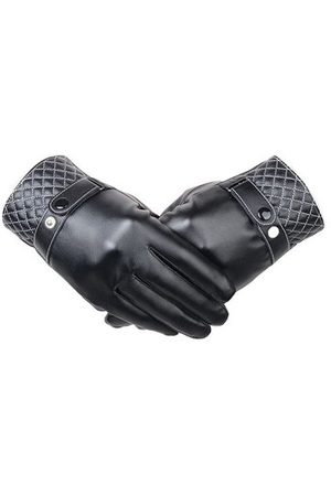 Newchic Men Women Screen Touch Artificial Leather Buckle Gloves Elastic Windproof Driving Mittens