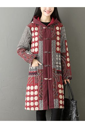 Newchic Women Coats - Ethnic Printed Thicken Coats