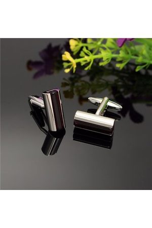 Newchic Men Women Purple Bar Crystal Silver Rectangle Cufflinks Wedding Party Gift Shirt Accessories