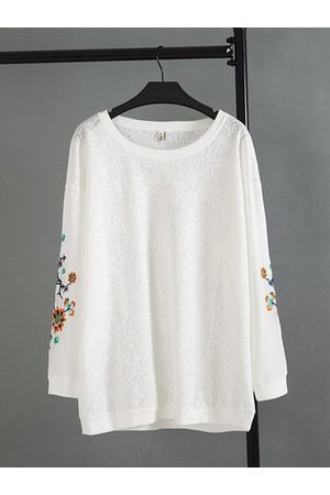 Newchic Lace Embroidery Long Sleeve Loose Shirt