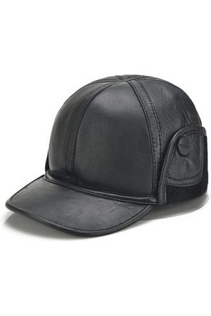 Newchic Mens Winter Sheepskin Leather Warm Lined With Rabbit Baseball Cap With Ear Flaps