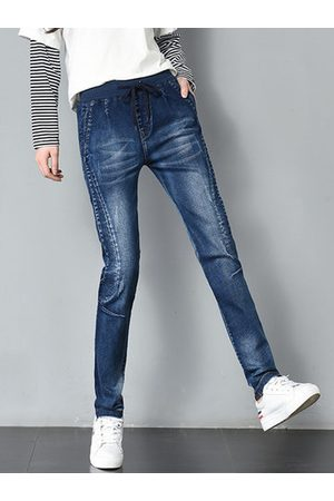 Newchic Women Capris - Elastic Waist Solid Ripped Denim Pants