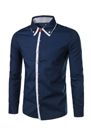 Newchic Men Business - Casual Business Fashion Fit Stitching Designer Shirts for Men