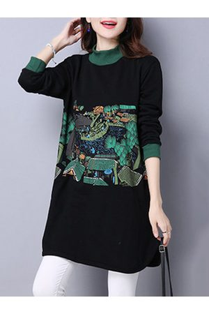 Newchic Casual Printed Long Sleeves O Neck Shirts For Women