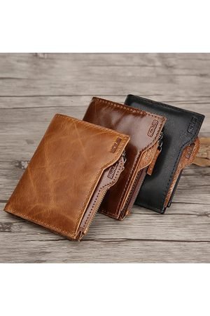 Newchic Genuine Leather Business Casual Card Holder Wallet For Men