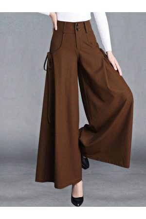 Newchic Casual Pure Color Wide Legs Pants