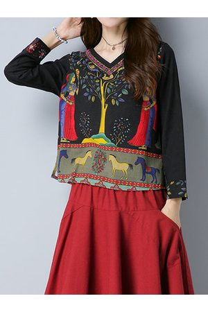 Newchic Ethnic Printed V-neck T-shirts