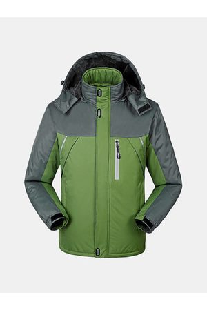 Newchic Men Winter Jackets - Mens Winter Detachable Hooded Jacket Windproof Water-repellent Warm Fleece Lined Coat