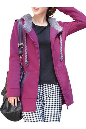Newchic Thick Hooded Fleece Drawstring Solid Coat