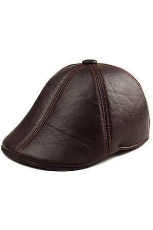 Newchic Men's Solid Color Sheepskin Genuine Leather Beret Caps Casual Warm With Ear Flaps Cabbie Golf Hat