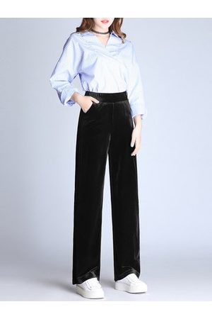 Newchic Solid Color Gold Velvet Wide Legs Pants