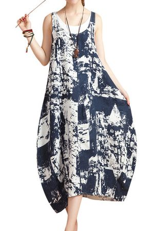 Newchic Women Casual Dresses - O-NEWE Chiness Style O-neck Sleeveless Floral Printed Dresses