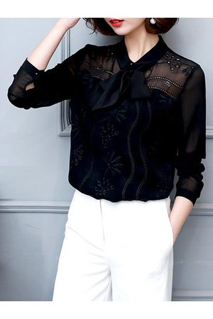 Newchic Elegant Lace Bow Embroidery Long Sleeves Shirts For Women