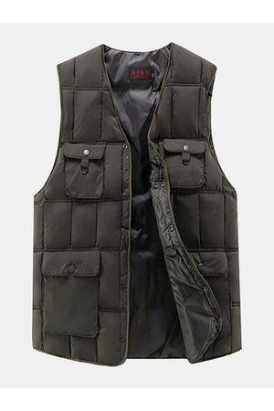 Newchic Outdoor Fishing Multi-Pockets Duck Down Vest Casual Loose Waistcoat for Men