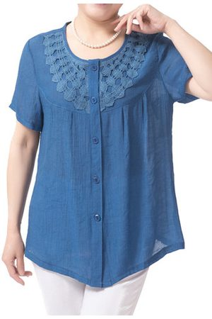 Newchic Casual Women Solid Crochet Short Sleeve Blouse