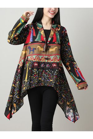 Newchic Ethnic Printed Irregular Hem Women Cloak Coats