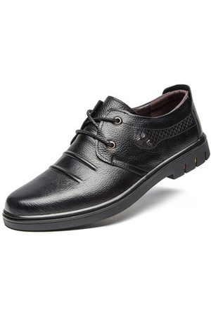 Newchic Men Leather Oxfords Lace Up Formal Casual Shoes