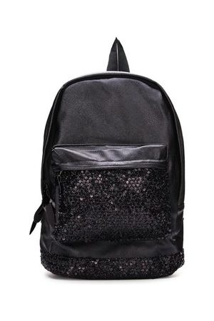 Newchic Women Travel Bags - Women Fashion Leather Black Sequined Decorated Backpack Travel Bag